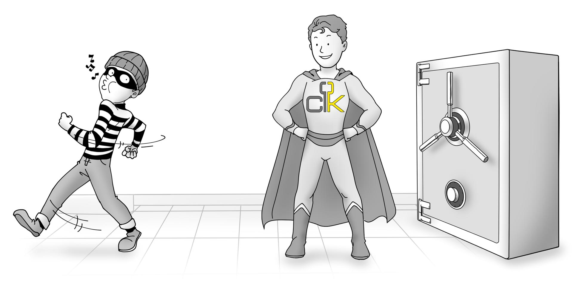 A burglar sees a Channel Key superhero protecting a vault and turns around.