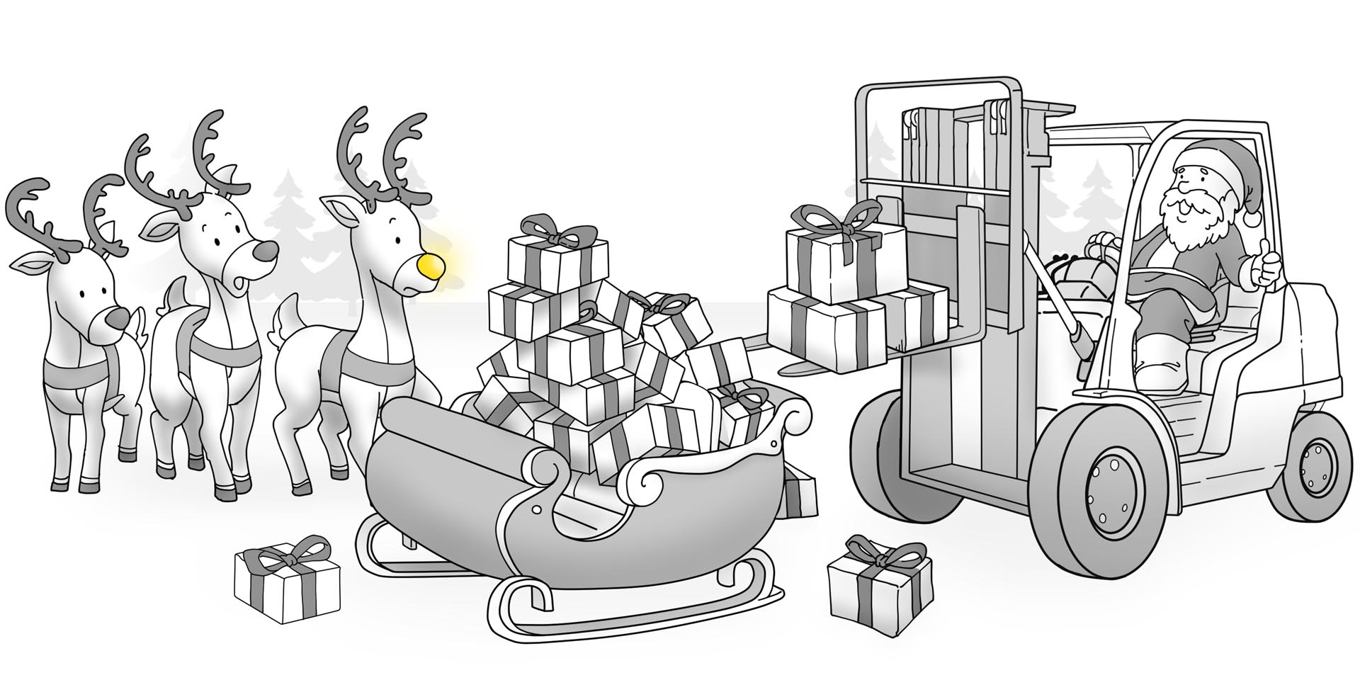 Santa Claus using a forklift, dumping gifts into a sleigh while reindeer watch.